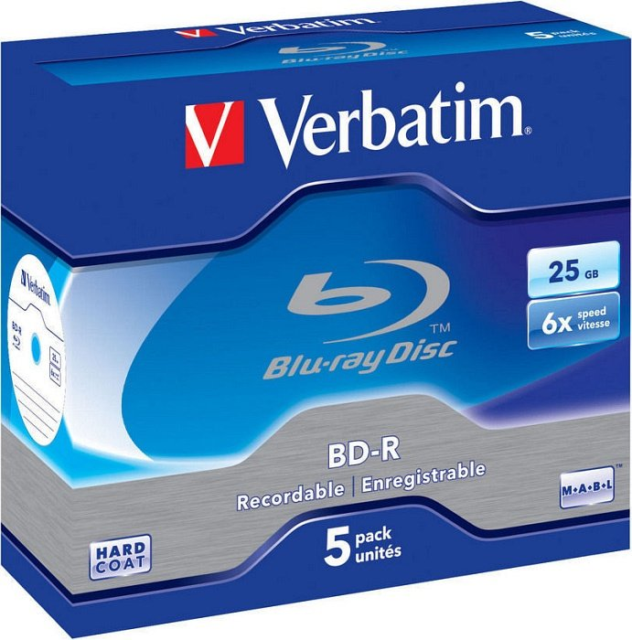 Verbatim BD-R 25GB 6x, 5-pack Jewelcase (43715)