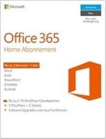 Microsoft Office 365 Home, 1 Jahr, PKC (deutsch) (PC/MAC) (6GQ-00674)