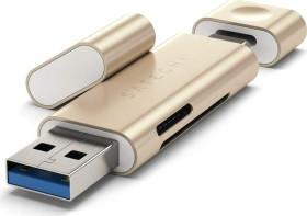 Satechi Dual-Slot-Cardreader, gold, USB-C 3.0/USB-A 3.0 [Stecker] (ST-TCCRAG)