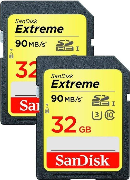 SanDisk Extreme HD Video R90 SDHC 32GB, UHS-I U3, Class 10, 2er-Pack (SDSDXNE-032G-GNCI2)