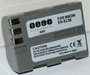 Compatible rechargeable battery to Nikon EN-EL3e -- provided by bepixelung.org - see http://www.bepixelung.org/1154 for copyright and usage information