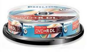 Philips DVD+R 8.5GB DL 8x, 10-pack (DR8S8B10F)