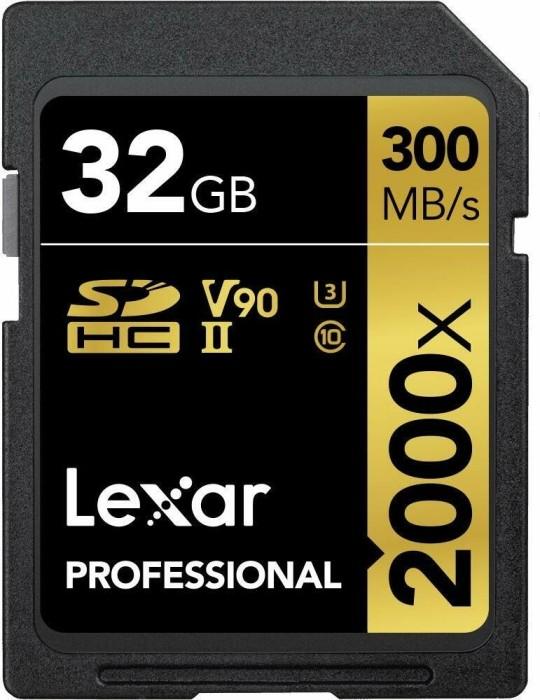Lexar Professional 2000x R300/W260 SDHC 32GB Kit, UHS-II U3, Class 10 (LSD32GCRBEU2000R)