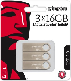 Kingston DataTraveler SE9 16GB, USB-A 2.0, 3er-Pack (DTSE9H/16GB-3P)
