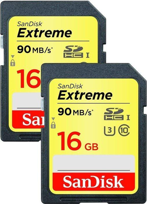 SanDisk Extreme R90 SDHC 16GB, UHS-I U3, Class 10, 2er-Pack (SDSDXNE-016G-GNCI2)