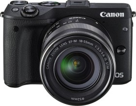 Canon EOS M3 schwarz mit Objektiv EF-M 18-55mm 3.5-5.6 IS STM mit Premium Kit (9694B066)