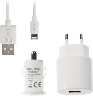 MLine LadeTrio Reise-Kfz-Datenkabel 1m Apple Lightning weiß (HLIGHTNINGLADESETWH)