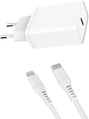 MLine Reiselader mit Lade- und Datenkabel USB PD 18 Watt für Apple Lightning weiß (ML0015)