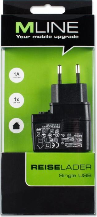 MLine Reiselader Single USB 1A für USB-A Buchse schwarz (HUSB3502)