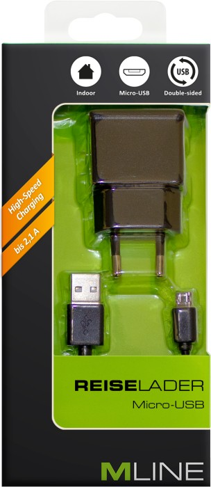 MLine Reiselader Single USB 2.1A & Double-sided Lade- & Datenkabel für Micro USB schwarz (HMICROUSB3502BKDS)