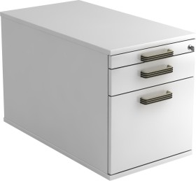 Hammerbacher Solid Container VTC20, Streifengriff, weiß, Rollcontainer (VTC20/W/W/SG)