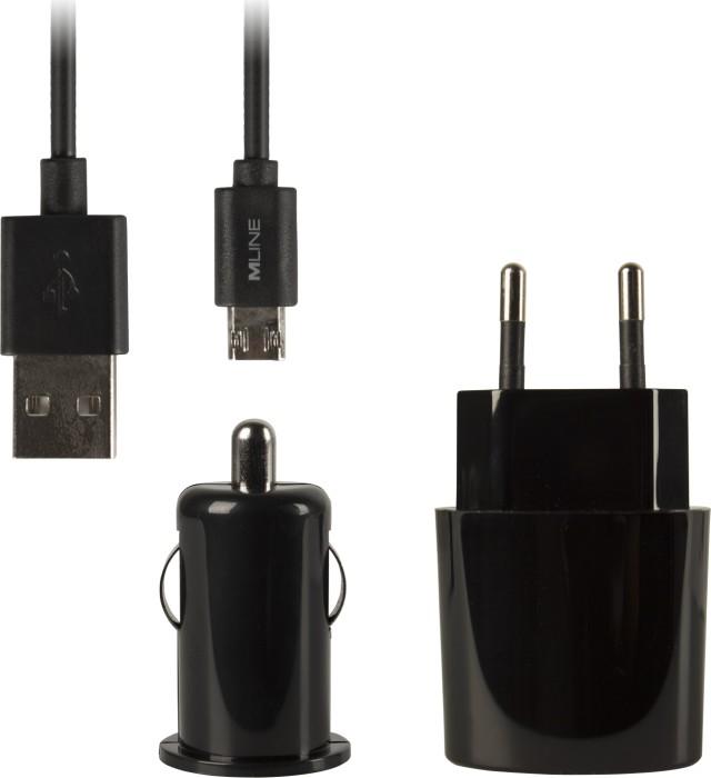 MLine Ladeset Reise-Kfz-Datenkabel 1m double-sided Micro-USB schwarz (HMICROUSBLADESETBKDS)