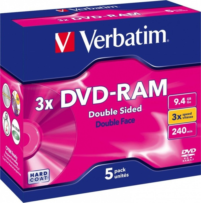 Verbatim DVD-RAM double sided 9.4GB 3x, 5er Jewelcase (43493)