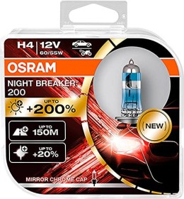 Osram Night breaker 200 H4 60/55W, 2-pack Box (64193NB200-HCB)