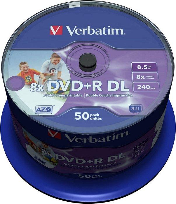 picture regarding Verbatim Dvd R Printable called Verbatim DVD+R 8.5GB DL 8x, 50-pack Spindle huge Inkjet printable (43703) towards £ 53.84