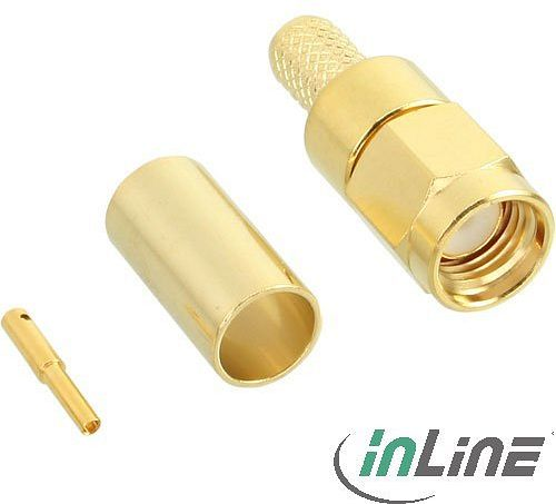 InLine WLAN R-SMA plug, Crimpversion, Gold contacts, for RG58 cable (40813A)
