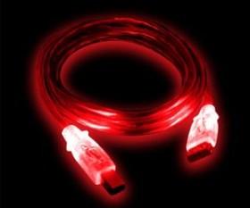 Diverse USB 2.0 LED Kabel A/B rot/rot, 1.8m/2.0m