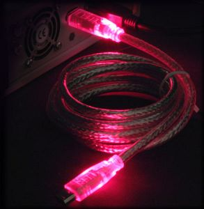 "FireWire IEEE-1394 ""LED"" cable red/red 6-Pin/6-Pin, 1.8m/2.0m"