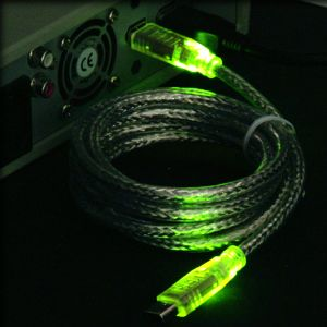 "FireWire IEEE-1394 ""LED"" cable green/green 6-Pin/6-Pin, 1.8m/2.0m"
