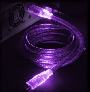 "FireWire IEEE-1394 ""LED"" cable purple/purple 6-Pin/6-Pin, 1.8m/2.0m"