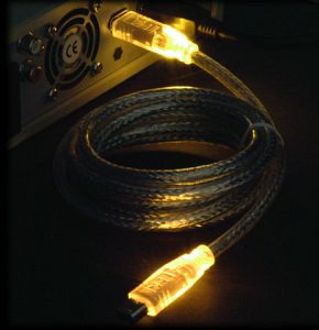 "FireWire IEEE-1394 ""LED"" cable yellow/yellow 6-Pin/6-Pin, 1.8m/2.0m"