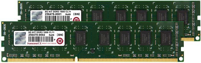 Transcend JetRAM DIMM Kit  8GB, DDR3-1333, CL9-9-9-24 (JM1333KLN-8GK)