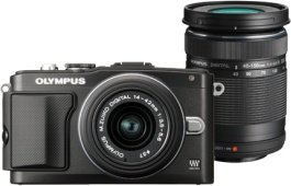Olympus PEN E-PL5 schwarz mit Objektiv M.Zuiko digital 14-42mm II und M.Zuiko digital ED 40-150mm (V205042BE000)