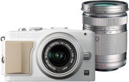 Olympus PEN E-PL5 weiß mit Objektiv M.Zuiko digital 14-42mm II und M.Zuiko digital ED 40-150mm (V205042WE000)