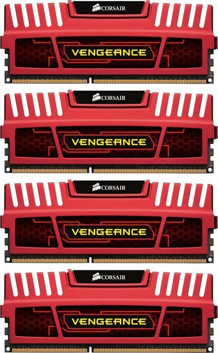 Corsair Vengeance red DIMM kit 16GB PC3-14900U CL9-10-9-27 (DDR3-1866) (CMZ16GX3M4X1866C9R)