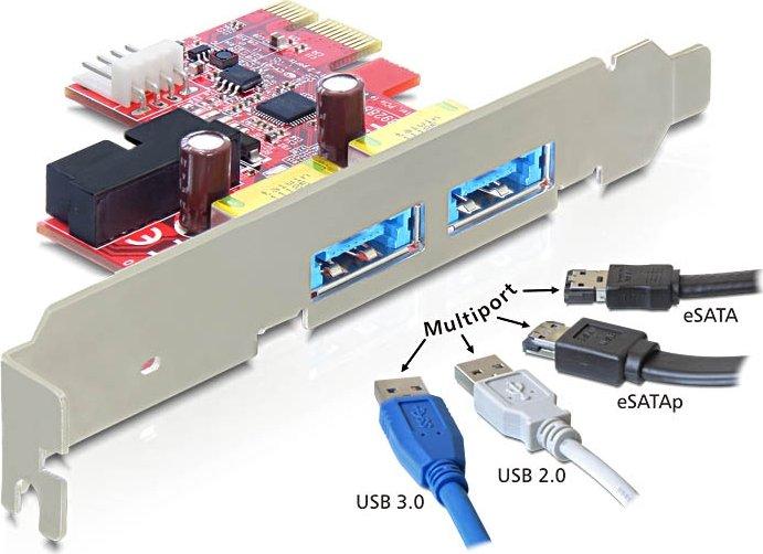 DeLOCK 2x USB 2.0, 2x USB 3.0, 2x eSATA (eSATAp) shared, PCIe x1 (89288)