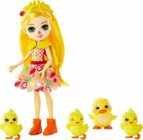 Mattel Enchantimals Family Toy Set Dinah Duck with Slosh and 4 Baby Duckling Figures (GJX45)