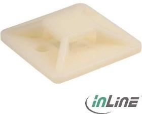InLine Befestigungssockel für Kabelbinder, 25x25mm, 10 Stück, natur (59965D)