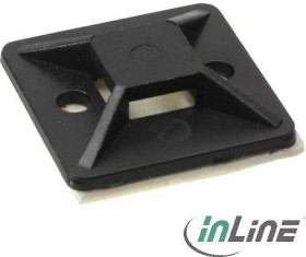 InLine mounting socket for cable tie, 30x30mm, 10 pieces, black (59965I)