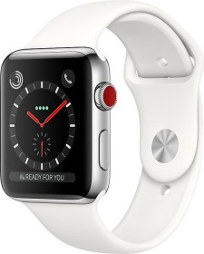 Apple Watch Series 3 (GPS + Cellular) Edelstahl 42mm silber mit Sportarmband weiß (MQLY2ZD/A)