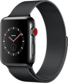 Apple Watch Series 3 (GPS + Cellular) Edelstahl 42mm schwarz mit Milanaise-Armband schwarz (MR1V2ZD/A)