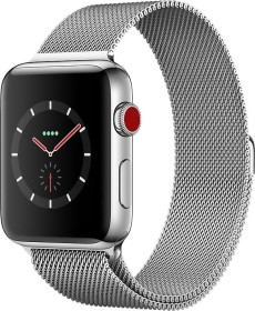 Apple Watch Series 3 (GPS + Cellular) Edelstahl 42mm silber mit Milanaise-Armband silber (MR1U2ZD/A)