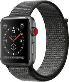 Apple Watch Series 3 (GPS + Cellular) Aluminium 42mm grau mit Sport Loop olivgrün (MQKR2ZD/A)