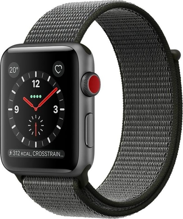 Apple Watch Series 3 (GPS + Cellular) Aluminium 42mm grau mit Sport Loop olivgrün (MQKR2ZD/A)