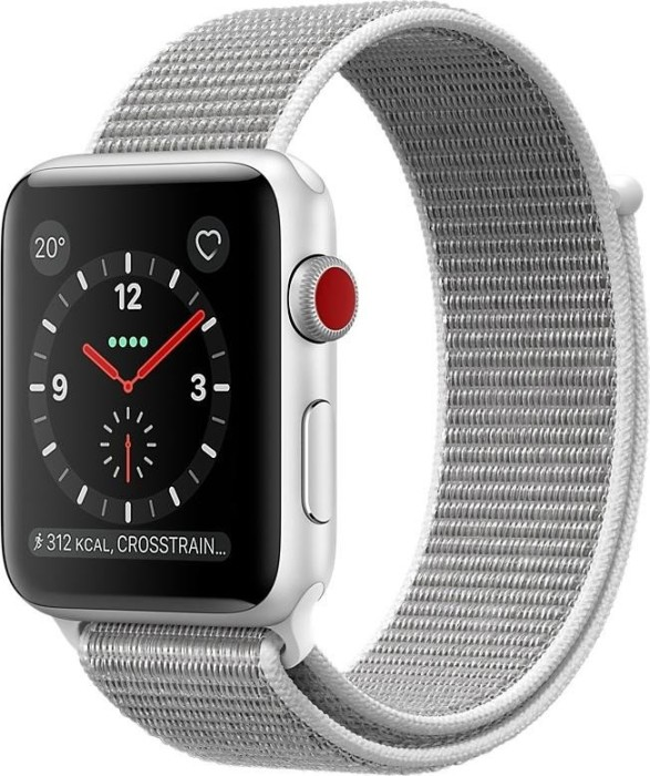 Apple Watch Series 3 (GPS + Cellular) Aluminium 42mm silber mit Sport Loop muschelweiß (MQKQ2ZD/A)