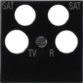 Gira System 55 Zentralplatte 4fach Antennensteckdose, schwarz (0259 10)