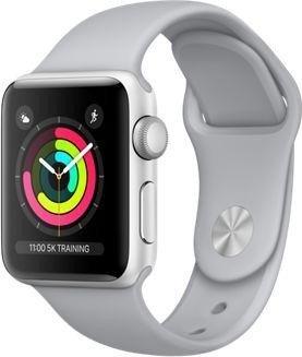 Apple Watch Series 3 (GPS) Aluminium 38mm silber mit Sportarmband nebelgrau (MQKU2ZD/A)