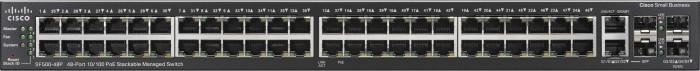 Cisco SF500 Rackmount Managed Stack Switch, 48x RJ-45, 2x RJ-45/SFP, 375W PoE+ (SF500-48P-K9-G5)