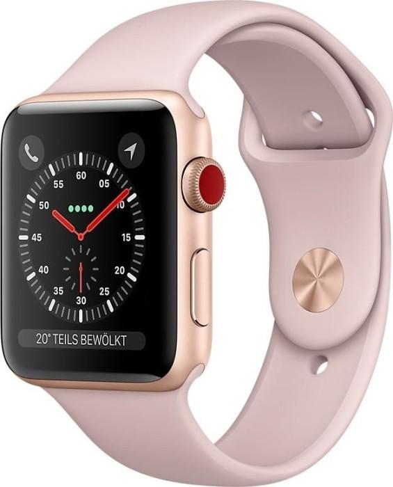 Apple Watch Series 3 (GPS) Aluminium 42mm gold mit Sportarmband sandrosa (MQL22ZD/A)