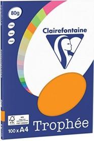 Clairefontaine Trophée Universalpapier neonorange A4, 80g/m², 100 Blatt (4129C)
