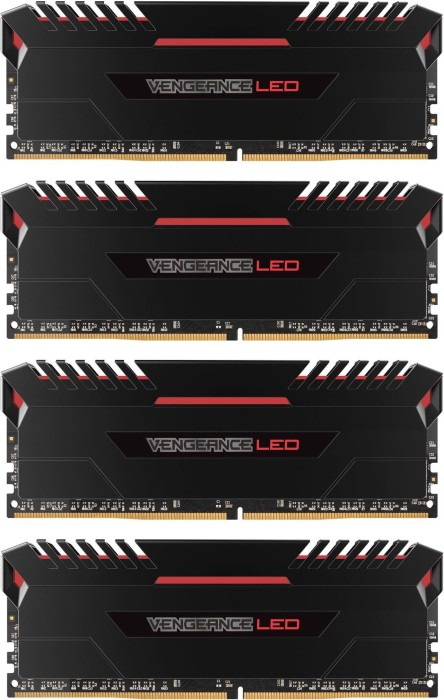 Corsair Vengeance LED rot DIMM Kit 32GB, DDR4-2666, CL16-18-18-35 (CMU32GX4M4A2666C16R)