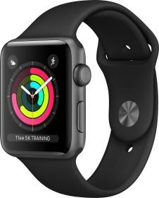 Apple Watch Series 3 (GPS) Aluminium 42mm grau mit Sportarmband schwarz (MQL12ZD/A)
