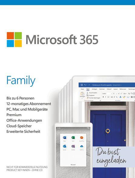 Microsoft Office 365 Family, 1 Jahr, PKC (deutsch) (PC/MAC) (6GQ-01154)
