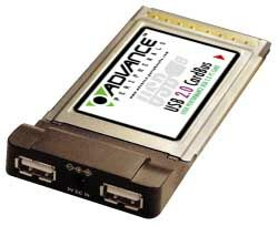 Advance 2-Port USB 2.0 Cardbus, PCMCIA Type II