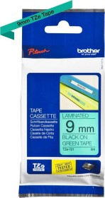 Brother TZe-721 label-making tape 9mm, black/green (TZE721)