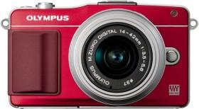Olympus PEN E-PM2 rot mit Objektiv M.Zuiko digital 14-42mm II (V206021RE010)
